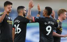 Jugadores del Manchester City celebran un gol esta temporada.