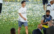 James Rodríguez se mantuvo en un actitud calmada durante los festejos del Real Madrid.