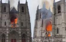 En video | Luego de Notre Dame, otra iglesia quemada en Francia