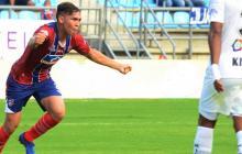 Ricardo Márquez celebrando un gol con el Unión Magdalena.