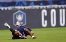 Kylian Mbapp evidenciando su dolor.