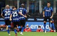 Lautaro celebra después de marcar el 2-0 ante el Napoli por la Serie A.