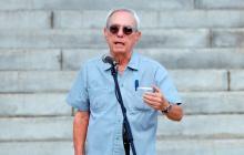Eusebio Leal el 30 agosto de 2019 durante el acto de presentación de la cúpula dorada del Capitolio en La Habana, Cuba.