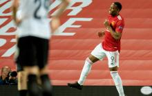 Martial celebra el tanto con el que le dio el triunfo al Manchester United frente al LASK.
