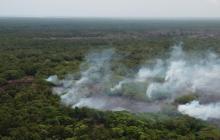 Columnas de humo que se desprenden del incendio forestal en Salamanca.