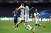 La celebración de Marquinhos tras conquistar el empate del PSG.