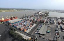Vista aérea del puerto de Barranquilla.