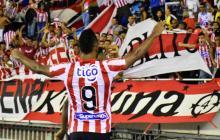 Miguel Borja, delantero de Junior, festejando un gol de las primeras fechas de la Liga 2020. En el reinicio de la Liga no habrá público.