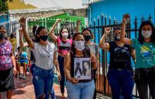 Comunidad durante la protesta por crimen de Daniela Espitia.