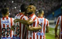 Miguel Borja celebrando uno de los cuatro tantos que acumula con Junior este año.