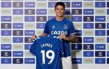 James en su presentación como nuevo jugador del Everton.