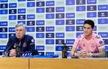 Carlo Ancelotti y James Rodríguez en rueda de prensa este jueves con el Everton.