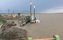 Obras de mitigación en el kilómetro 2.5 de la vía entre Salamina y El Piñón, las cuales han sido cuestionadas por varios sectores de las dos poblaciones.