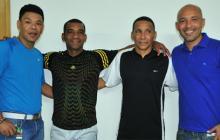 Ricardo Ciciliano durante una visita a EL HERALDO junto con Oswaldo Mackenzie, Wilson Pérez y Henry 'el Ferry' Zambrano.
