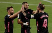 Sergio Ramos celebra con Benzema y Mayoral.