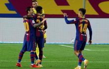 Messi, Ansu Fati y Coutinho celebran uno de los tantos frente al Villarreal.