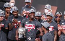 Los jugadores de Miami Heat tras coronarse campeones de la Conferencia Este.
