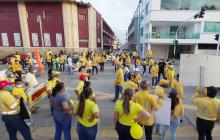 Marcha de trabajadores de Cerrejón para apoyar la huelga