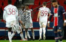 Marcus Rashford celebrando el gol de la victoria mientras Neymar se lamenta.