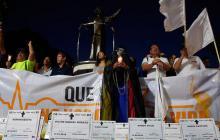 Aspecto de una movilización en contra del asesinato de líderes sociales en la ciudad de Barranquilla.