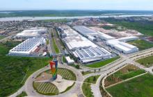 Vista aérea de la sede de Tecnoglass en Barranquilla.