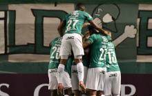 El festejo del Deportivo Cali por la clasificación a la siguiente fase de la Copa Sudamericana.