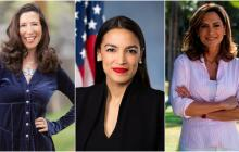 Teresa Leger Fernández (i), de Nuevo México, Alexandra Ocasio-Cortez de Nueva York y María Elvira Salazar del distrito 27 de Florida