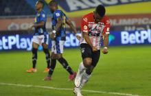 Miguel Borja celebrando su segundo gol ante Chicó.