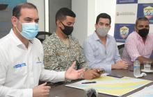 Jurado, Urbano, Ariza y Curvelo en la rueda de prensa.