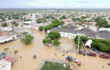 Vista aérea del municipio de Uribia, La Guajira. La población permanece inundada con afectaciones en el 90 por ciento.