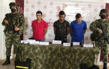 Los tres capturados por el Ejército Nacional.