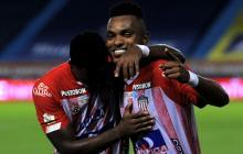 Miguel Borja celebrando el gol que le marcó el domingo al Deportes Tolima.