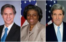 Tony Blinken, Linda Thomas-Greenfield y John Kerry.