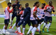 Los jugadores de Junior celebraron con un baile el gol de Miguel Ángel Borja.