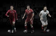 Cristiano Ronaldo, Robert Lewandowski y Lionel Messi.