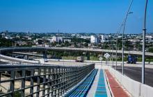 Un aspecto del nuevo Puente Pumarejo en la vía Barranquilla-Santa Marta.