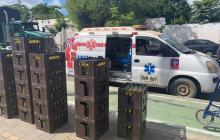 Ambulancia transportaba canastas de cerveza en Montería