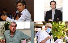 Claudia López, alcaldesa de Bogotá, Daniel Quintero, alcalde de Medellín, William Dau, alcalde de Cartagena y Jairo Yánez, alcalde de Cúcuta.