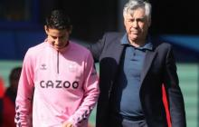 James Rodríguez y Carlo Ancelotti.