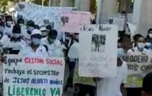 Con marchas piden libertad de soldado banqueño secuestrado en el Catatumbo