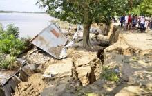 Colapsan cuatro viviendas en Magangué tras erosionar talud