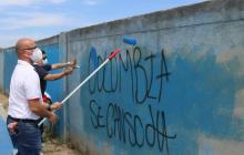 En Unimagdalena borran grafitis y piden respeto por la academia