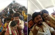 Pareja celebra su boda en un avión para evitar las restricciones de covid-19
