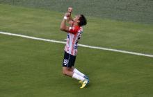 Fabián Sambueza tras el gol en el Junior vs. Millonarios por la Liga BetPlay