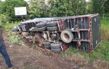 Camión se volcó en Montería tras chocar contra varios búfalos