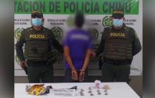 Cae en Chinú sujeto que escondía marihuana en una bolsa de yupis