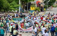 Marchas de maestros y centrales obreras en Barranquilla