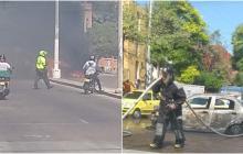 En video | Taxi se incendia en la calle 72, a la altura de Villa Tarel