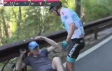 En video | Miguel Ángel López agrede a aficionado que lo hizo caer en el Giro de Italia