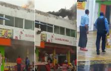 En video | Susto por incendio en asadero de pollos en el barrio San Felipe